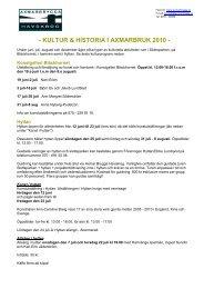 KULTUR & HISTORIA I AXMARBRUK 2010 - Axmarbrygga Havskrog