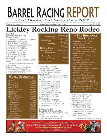 Lickley Rocking Reno Rodeo - Barrel Racing Report