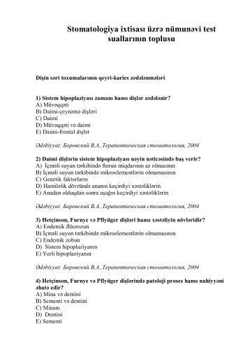 Stomatologiya ixtisası üzrə nümunəvi test suallarının ... - Stomatoloq