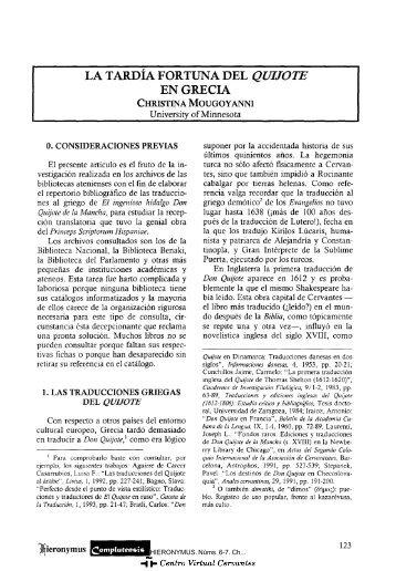 La tardía fortuna del Quijote en Grecia - Centro Virtual Cervantes