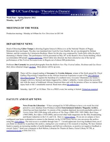 meetings of the week department news faculty and staff news
