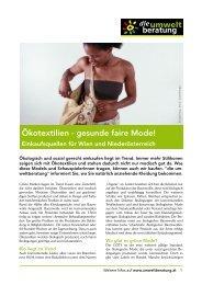 Ökotextilien - gesunde faire Mode! - Umweltberatung