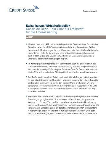 Swiss Issues Wirtschaftspolitik - Cassis de Dijon - Credit Suisse ...