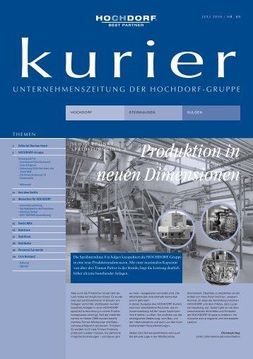 Produktion in neuen Dimensionen - Hochdorf Nutritec AG