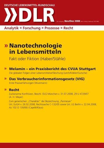 Nanotechnologie in Lebensmitteln - DLR Online: Deutsche ...