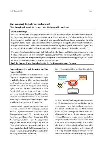 Was reguliert die Nahrungsaufnahme? - DIfE