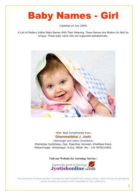 Baby Names - Girl - Jyotishonline com