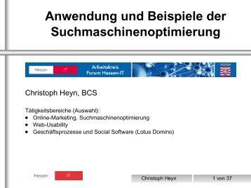 Anwendung und Beispiele der Suchmaschinenoptimierung