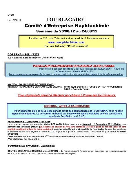 645991e80d2 lou blagaire - Comité d Entreprise Naphtachimie Lavéra