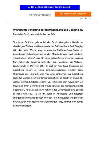 pressemitteilung - Raiffeisenbank Bad Gögging eG
