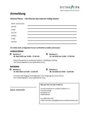 Anmeldung eFitness Landkreis Kelheim inkl Bad Goegging
