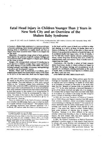 Fatal Head Injury in Children Younger Than 2 Years in New York City