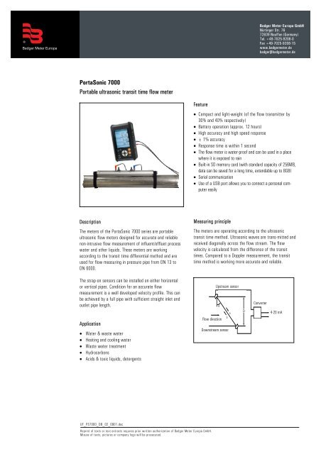 PortaSonic 7000 Portable ultrasonic transit time flow meter