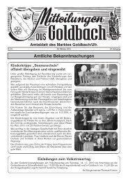 """""""Sonnenschein"""" offiziell übergeben und eingeweiht - Goldbach"""