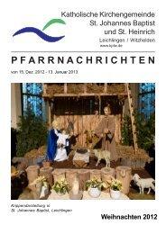 P F A R R N A C H R I C H T E N - kath. Pfarrgemeinde St. Johannes ...