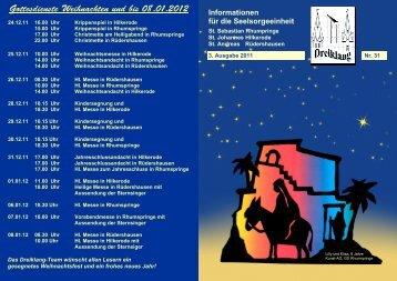 Gottesdienste Weihnachten und bis 08.01.2012 - sse-rhume-eller.net