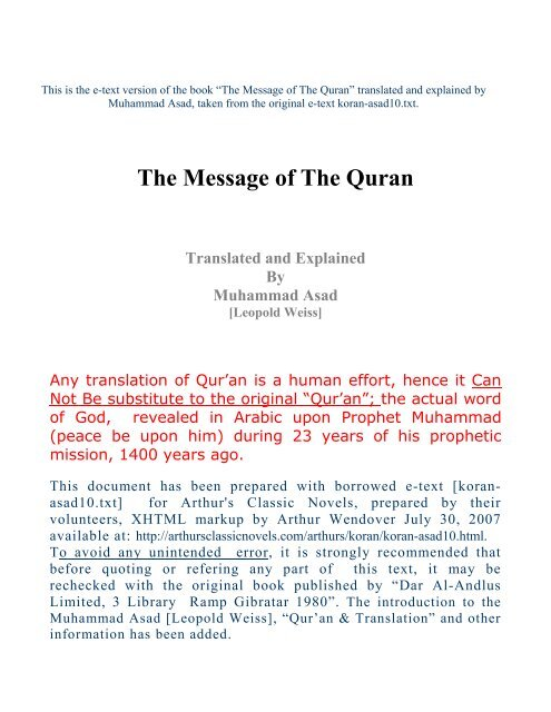 The Message of The Quran By M Asad