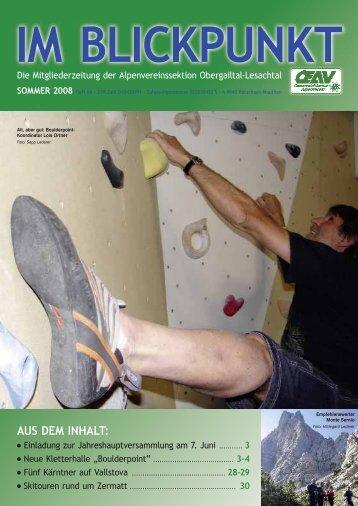 Sommerprogramm 2008 - OEAV Obergailtal