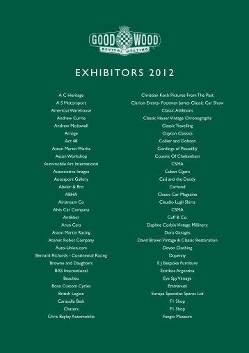 EXHIBITORS 2012 - Goodwood