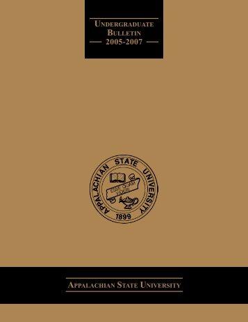 appalachian state university undergraduate bulletin - Office of the ...