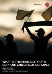 WHAT IS THE FEASIBILITY OF A SupporterS Direct europe?