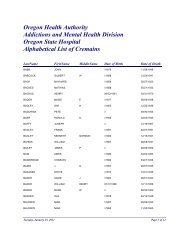 Oregon Health Authority Addictions and Mental ... - State of Oregon