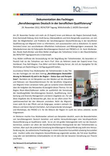 Dokumentation des Fachtages - Netzwerk Integration durch ...