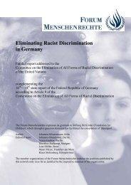 Eliminating Racist Discrimination in Germany - Forum Menschenrechte