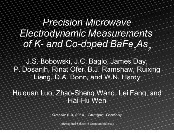 Precision Microwave Electrodynamic Measurements of K ... - imprs