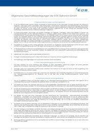 Allgemeine Geschäftsbedingungen der EOS Optronics GmbH