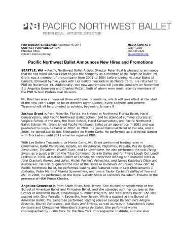 Pacific Northwest Ballet Announces New Hires and Promotions