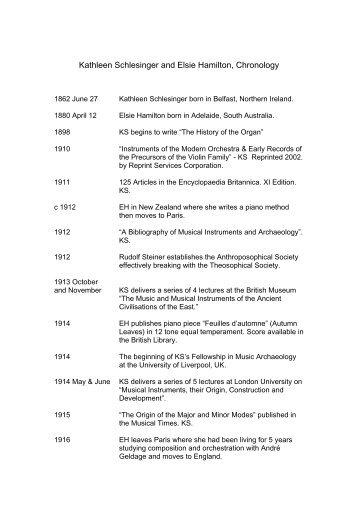 Kathleen Schlesinger and Elsie Hamilton Biographical ... - Naked Light