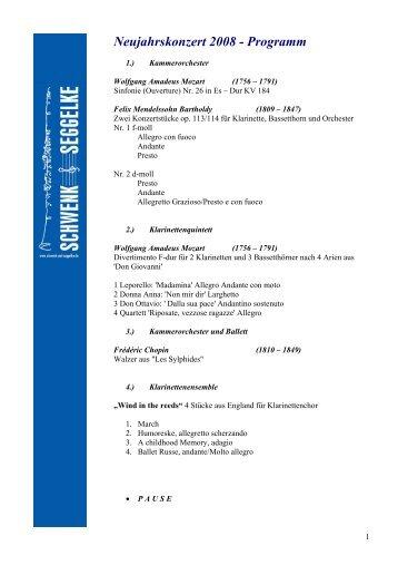 Neujahrskonzert 2008 - Programm - Schwenk & Seggelke