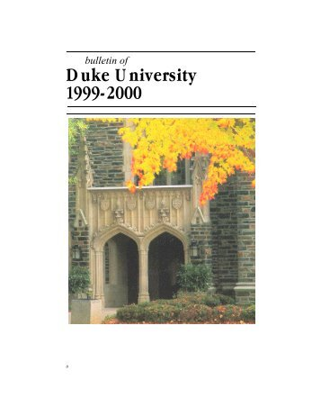 Duke University 1999-2000 - Office of the Registrar - Duke University