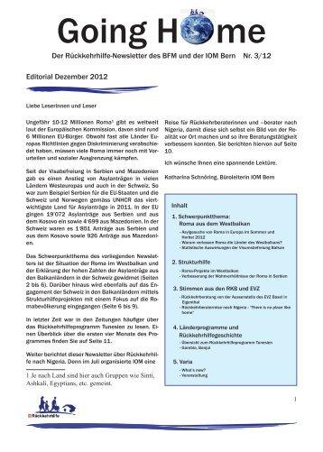 Going Home Nr. 3 / Dezember 2012 - admin.ch