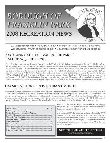 """23rd annual """"festival in the park"""" saturday, june 28, 2008"""