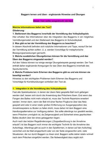 Arbeitsblatt Volleyball-Zirkel/Stationen