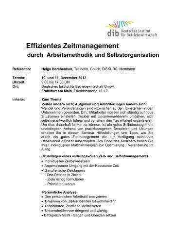 Effizientes Zeitmanagement durch Arbeitsmethodik und ...