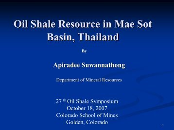 Oil Shale Resource in Mae Sot Basin, Thailand
