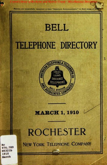 bell telephone directory rochester - Monroe County Library System