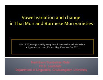 Vowel variation and change (work in progress)-1 - seals 23
