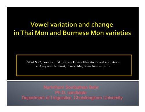 Vowel variation and change (work in progress)-1 - seals 23