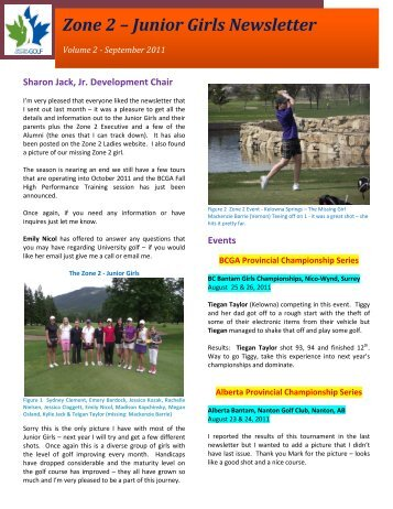 Zone 2 – Junior Girls Newsletter - Zone 2 Ladies