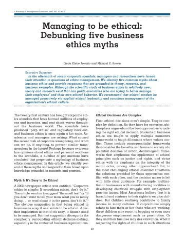 managing to be ethical debunking five The research also examines how ethical leadership is related to leader–member exchange and work unit managing to be ethical: debunking five business ethics.