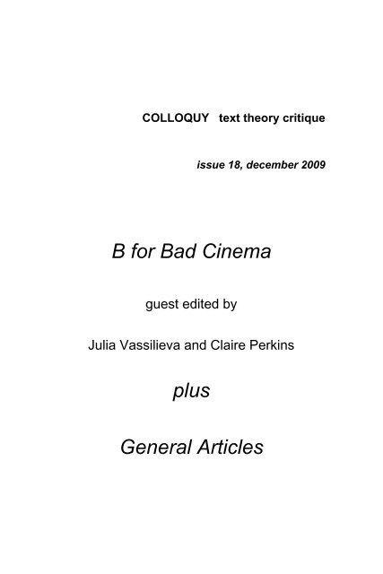 B For Bad Cinema Faculty Of Arts Monash University