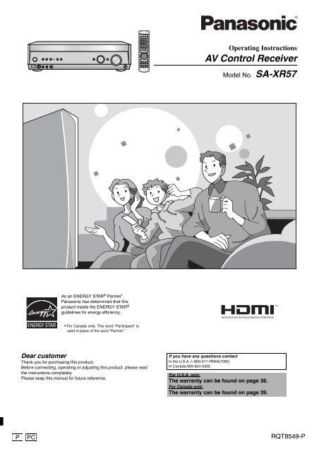 AV Control Receiver - Operating Manuals for Panasonic