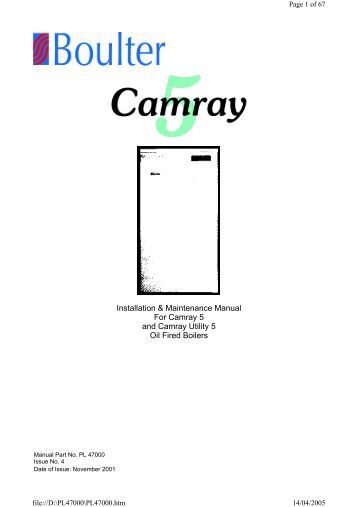 Boulter Camray 5 Oil boiler manual