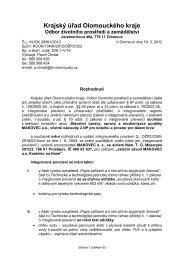 Krajský úřad Olomouckého kraje - Ministerstvo životního prostředí