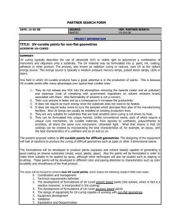 UV curing - FFG 7. Rahmenprogramm