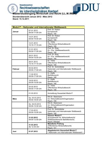 Aktueller Stundenplan Wirtschaft Recht 2012 - Dresden International ...